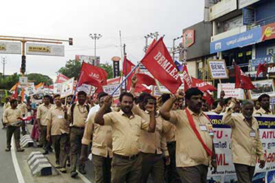 BEML workers protesting