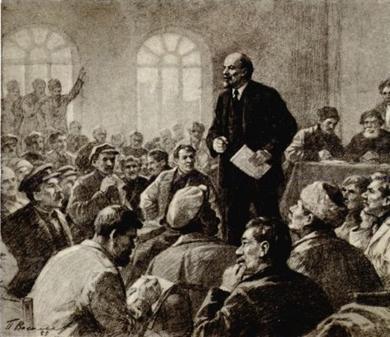 Lenin addressing Peasants Soviets Congress