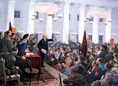 Lenin addressing 2nd All-Russian Congress of Soviets