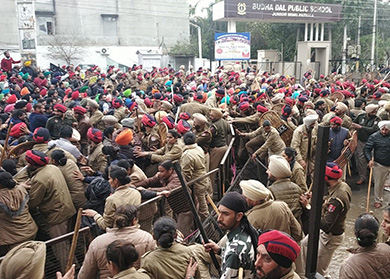 eachers in Patiala facing police lathicharge