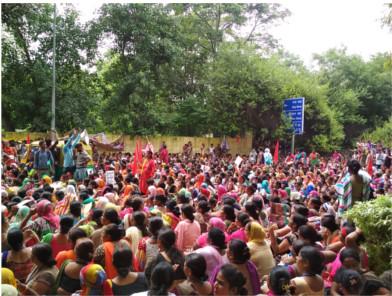 Anganwadi protest action