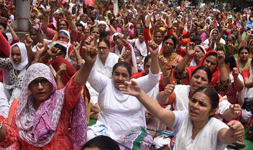 Anganwadi workers protest in Ludhiana July 10, 2019