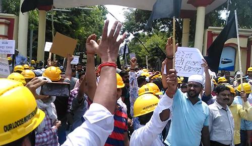 Protest at the Diesel Locomotive Works in Varanasi