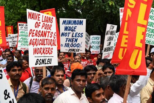 INDIA-POLITICS-LABOUR-PROTEST