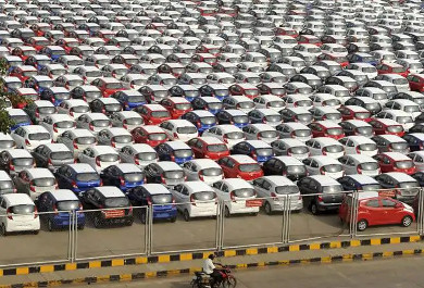 Unsold cars piled up