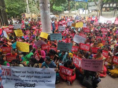 Garment workers demonstrating in Bengaluru