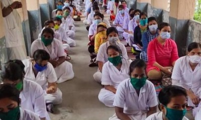 Nurses at Mumbai's civic-run KEM Hospital protested demanding a separate ward for colleagues infected by the Covid-19