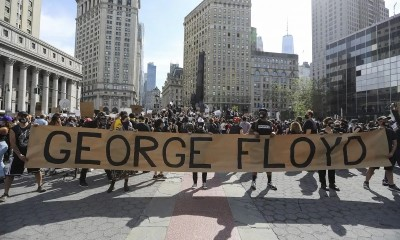 Protesters rally on Foley Square of lower Mahattan in New York,