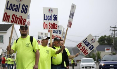 Bath iron shipyard workers on strike in Maine