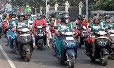 Women organised bike rally in Hyderabad to support the peasant struggle