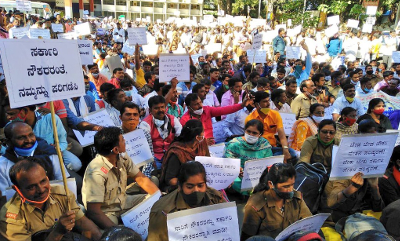Karnataka State Road Transport Corporation Employees on dharna
