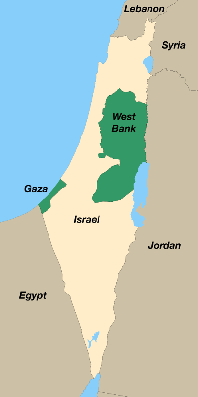 Map of Israel, West Bank and Gaza Strip