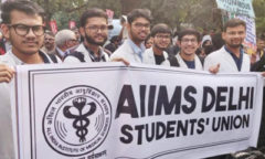 AIIMS students protest fee hike